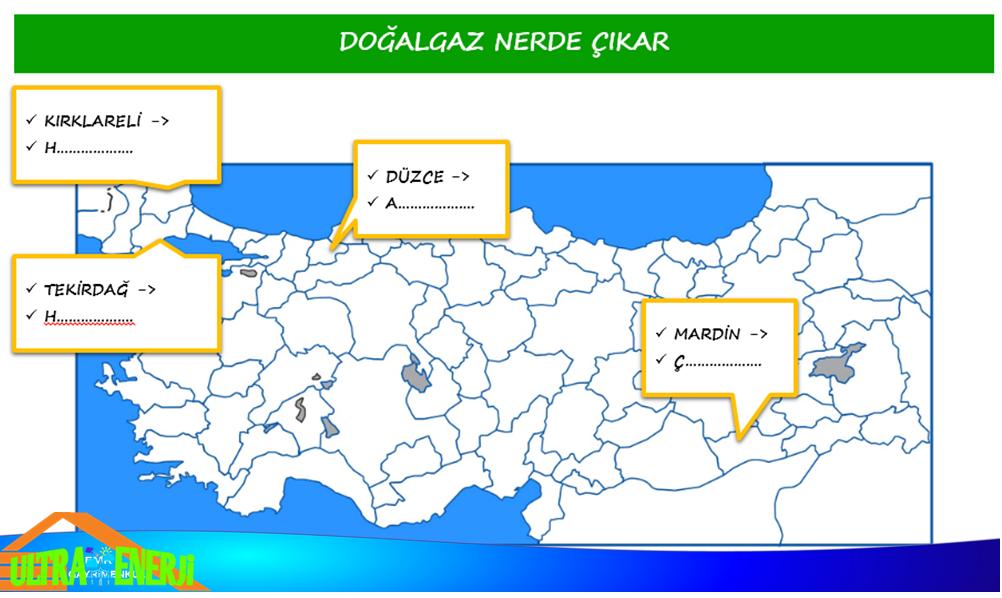 dogalgaz - Türkiye'de Çıkarılan Yenilemeyen Enerji Kaynakları ve Bölgeleri